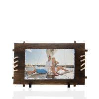 Фотокамень прямоугольник с деревянной рамкой 160х260мм