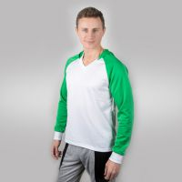 Футболка мужская с зелеными дл рукавами и капюшоном — 44 (S)