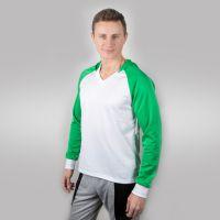 Футболка мужская с зелеными дл рукавами и капюшоном — 46 (M)