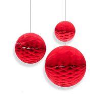 Набор помпонов в виде круга красный 3 штуки (h20, h15, h10см)