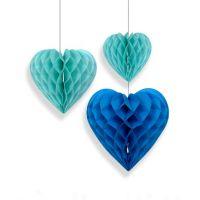 Набор помпонов в виде сердца голубой 3 штуки (h25, h20, h15см)