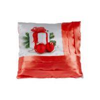 Наволочка комбинированная; цвет: белый / красный; на молнии; полисатин; 400 х 400 мм