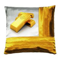 Наволочка комбинированная; цвет: белый / золото; на молнии; полисатин; 400 х 400 мм