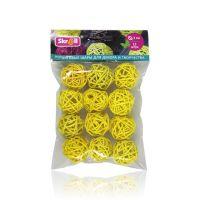 Шары плетенные из ротанга 3см В упак 12 шт. Цвет: желтый (yellow)