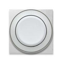 Тарелка керамика белая ободок серебро и узор 200мм