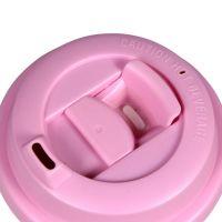 Термостакан пластик белый с розовой крышкой 500мл